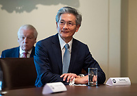 David Kong, CEO, Best Western Hotels and Resorts, attends a meeting held by United States President Donald J. Trump and fellow tourism industry executives to discuss the response to the Coronavirus (COVID-19) pandemic response at the White House in Washington, DC, March 17, 2020, in Washington, D.C.<br /> Credit: Kevin Dietsch / Pool via CNP/AdMedia