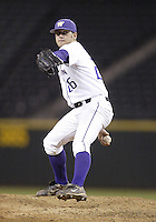 03 April 2009:  Washington relief pitcher #26 Andrew Kittredge fires the ball to the plate against Arizona State at Safeco Field in Seattle, WA.  Arizona State won 3-1 over Washington.