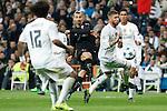 Real Madrid´s Sergio Ramos and Paris Saint-Germain´s Zlatan Ibrahimovic during Champions League soccer match between Real Madrid  and Paris Saint Germain at Santiago Bernabeu stadium in Madrid, Spain. November 03, 2015. (ALTERPHOTOS/Victor Blanco)