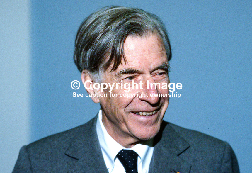 Professor John K Galbraith, economist, USA, 19850023JKG2..Copyright Image from Victor Patterson, 54 Dorchester Park, Belfast, UK, BT9 6RJ..Tel: +44 28 9066 1296.Mob: +44 7802 353836.Voicemail +44 20 8816 7153.Skype: victorpattersonbelfast.Email: victorpatterson@mac.com.Email: victorpatterson@ireland.com (back-up)..IMPORTANT: If you wish to use this image or any other of my images please go to www.victorpatterson.com and click on the Terms & Conditions. Then contact me by email or phone with the reference number(s) of the image(s) concerned.