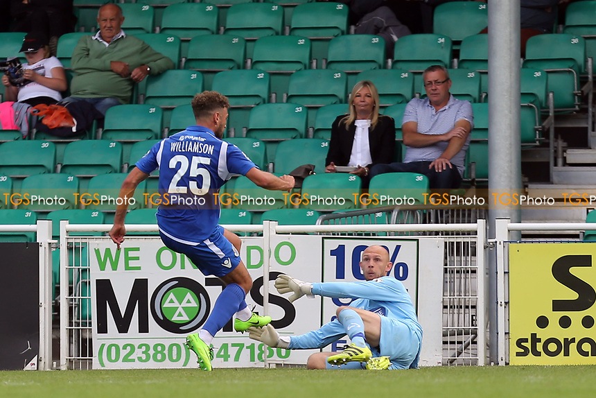 Ben Williamson of Eastleigh scores the opening Eastleigh goal during Eastleigh vs Dagenham & Redbridge, Vanarama National League Football at the Silverlake Stadium on 12th August 2017