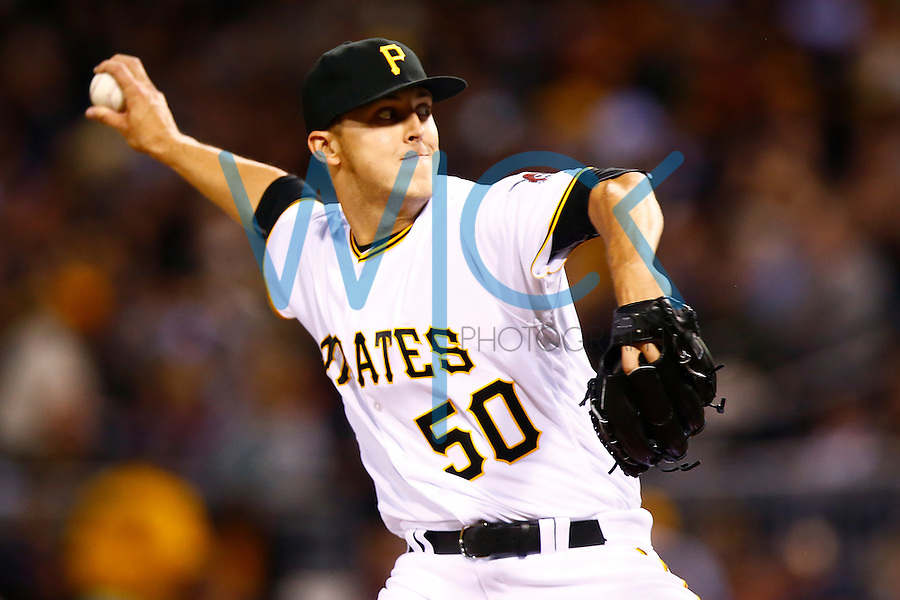 Jameson Taillon #50 of the Pittsburgh Pirates pitches against the New York Mets during the game at PNC Park in Pittsburgh, Pennsylvania on June 8, 2016. (Photo by Jared Wickerham / DKPS)