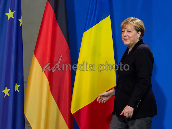 German Chancellor Angela Merkel welcomes Romanian Prime Minister Dacian Ciolos on January 7, 2016 at the Federal Chancellery.<br /> After lunch, both stand before the press. They talk about bilateral relations, regional and European policy issues. Photo Credit: Stocki/face to face/AdMedia