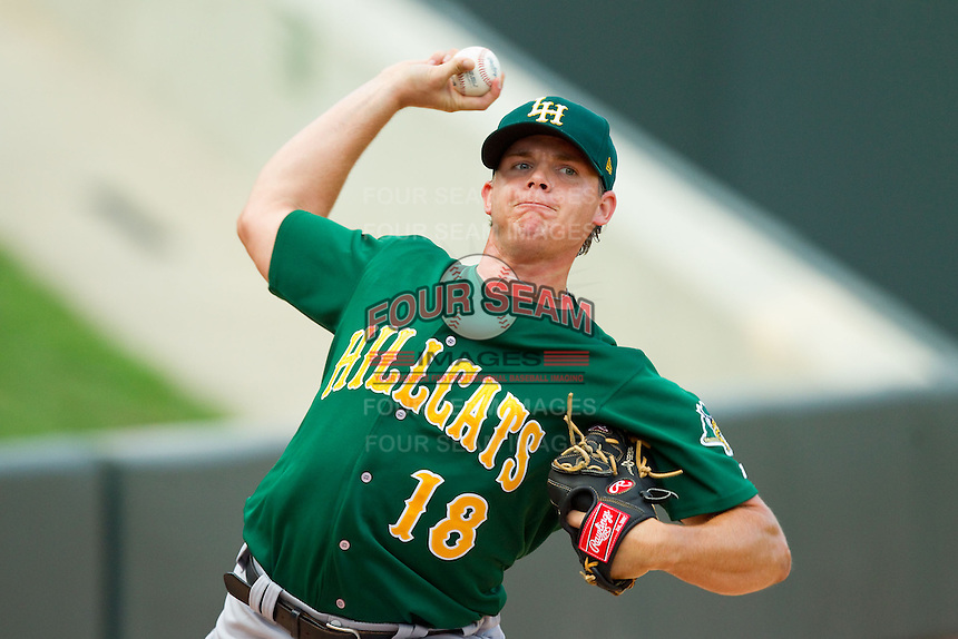 Lynchburg Hillcats starting pitcher Jarett Miller (18) warms up in the bullpen prior to the game against the Winston-Salem Dash at BB&T Ballpark on August 5, 2013 in Winston-Salem, North Carolina.  The Dash defeated the Hillcats 5-0.  (Brian Westerholt/Four Seam Images)