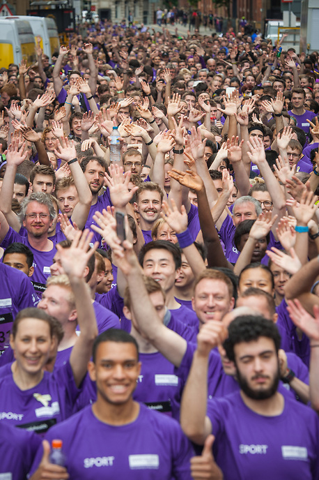 University of Manchester competitors line up for the Great Manchester Run in Manchester City Centre on Sunday 28th May 2017.