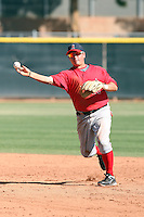 Mitch Blackburn #32 of the Los Angeles Angels plays in a minor league spring training game against the Colorado Rockies at the Angels minor league complex on March 23, 2011  in Tempe, Arizona. .Photo by:  Bill Mitchell/Four Seam Images.