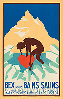 BNPS.co.uk (01202 558833)<br /> Pic: Lyon&Turnbull/BNPS<br /> <br /> Pictured:  A poster advertising the health benefits of the mountain air.<br /> <br /> A stunning set of vintage ski posters depicting the halcyon days of European winter holidays has emerged for sale.<br /> <br /> They feature early lithograph prints of advertising posters for glamorous resorts including Champery and Gstaad.<br /> <br /> The earliest posters in the sale date from the turn of the 20th century, with the most recent examples from the 1960s.<br /> <br /> Seventy posters, which range in value from £300 to £9,000, are being sold by Lyon & Turnbull, of Edinburgh, in conjunction with poster specialists Tomkinson Churcher.<br /> <br /> As transport links improved in the 1920s and '30s, skiing holidays grew in popularity. To take advantage of this boom, prestigious resorts commissioned the finest graphic artists to create art deco style advertisements urging holiday-makers to visit.