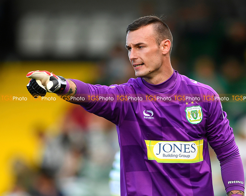 Yeovil Town keeper Artur Krysiak  made some great second half saves during Yeovil Town vs Accrington Stanley, Sky Bet EFL League 2 Football at Huish Park on 12th August 2017