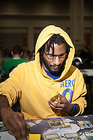 Not much racial diversity. Found one team of 3 black players. <br /> <br /> <br /> Magic The Gathering Grand Prix, Washington DC. <br /> <br /> Danny Ghitis for Bloomberg Businessweek