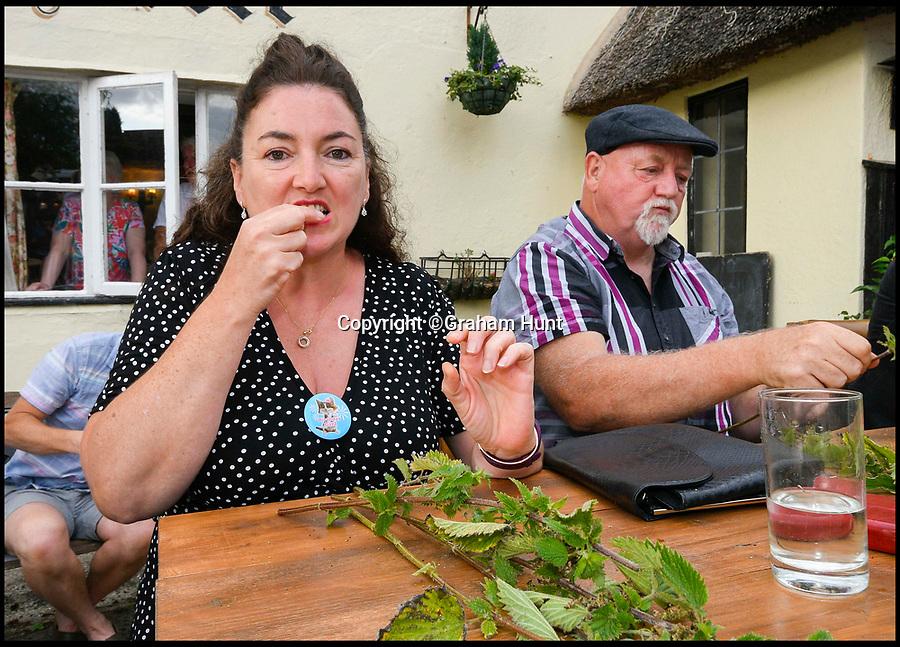 BNPS.co.uk (01202 558833)<br /> Pic: Graham Hunt/BNPS<br /> <br /> Becky Scott competing in the World Nettle Eating Championships at the Bottle Inn, Marshwood, Dorset, UK.