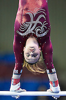 Alabama's Keely McNeer competes on the uneven bars during the semifinals of the NCAA women's gymnastics championships, Friday, April 17, 2015 in Fort Worth, Tex.(Mo Khursheed/TFV Media via AP Images)