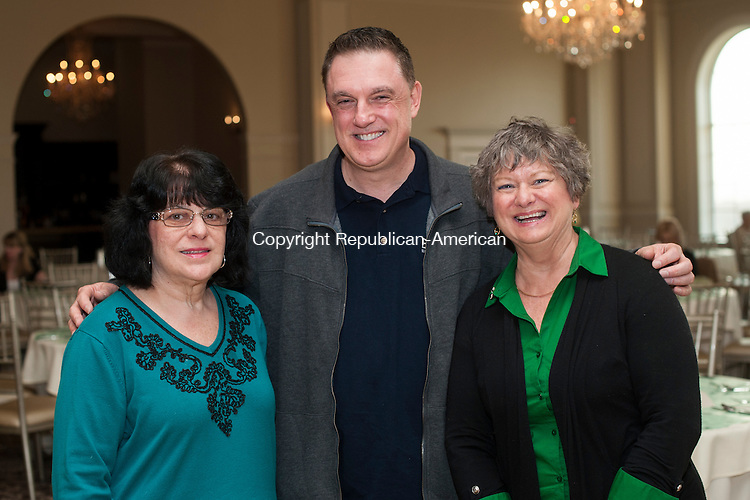 WATERBURY, CT- 10 March 2016-031016EC06-  Social Moments. The annual Waterbury UNICO Charlie Lanza Memorial Italian Corned Beef Dinner was held at Aria Banquet Facility in Prospect March 10. From L to R: Barbara Stere, Charlie Coretto and Pat Goodin. Erin Covey Republican-American