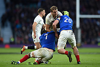 Joe Launchbury of England takes on the France defence. Guinness Six Nations match between England and France on February 10, 2019 at Twickenham Stadium in London, England. Photo by: Patrick Khachfe / Onside Images