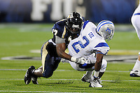 11 October 2008:  FIU defensive back Robert Mitchell (17) tackles Middle Tennessee State running back Desmond Gee (2) in the FIU 31-21 victory over Middle Tennessee at FIU Stadium in Miami, Florida.
