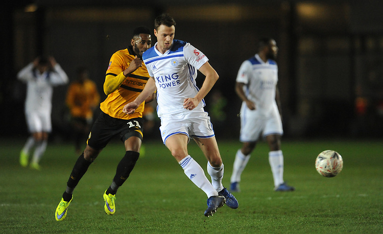 Leicester City's Jonny Evans passes back to the keeper <br /> <br /> Photographer Ian Cook/CameraSport<br /> <br /> The Emirates FA Cup Third Round - Newport County v Leicester City - Sunday 6th January 2019 - Rodney Parade - Newport<br />  <br /> World Copyright &copy; 2019 CameraSport. All rights reserved. 43 Linden Ave. Countesthorpe. Leicester. England. LE8 5PG - Tel: +44 (0) 116 277 4147 - admin@camerasport.com - www.camerasport.com