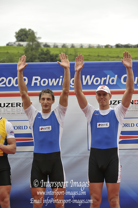 Lucerne, SWITZERLAND,   EST M2X, Bow, Allar RAJA and Kaspar TAIMSOO Third round of the  2009 FISA World Cup,  Rotsee Regatta Course, Sunday  12/07/2009 [Mandatory Credit Peter Spurrier/ Intersport Images]