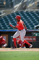 Washington Nationals Andry Arias (30) at bat during an Instructional League game against the Miami Marlins on September 25, 2019 at Roger Dean Chevrolet Stadium in Jupiter, Florida.  (Mike Janes/Four Seam Images)