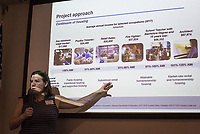 NWA Democrat-Gazette/CHARLIE KAIJO Susan Hartmann, program director at Enterprise Community Partners, gives a presentation showing the housing demographics in Springdale during a community meeting, Thursday, June 7, 2018 at the Shiloh Museum in Springdale. <br /><br />The University of Arkansas College of Business, Northwest Arkansas Regional Planning Commission, Walton Family Foundation and a nonprofit called Enterprise Community Partners are taking stock of the housing and housing affordability situation in this area. They&acirc;&euro;&trade;ll be putting together a regional plan to try to make sure there&acirc;&euro;&trade;s enough housing affordable to everyone in the coming years. They held public forums in the big four cities to get residents&acirc;&euro;&trade; thoughts on where housing is lacking and what the regional plan will need to keep in mind.