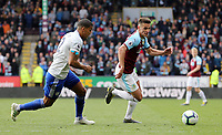 Burnley's Ashley Westwood looks to run past Cardiff City's Lee Peltier<br /> <br /> Photographer Rich Linley/CameraSport<br /> <br /> The Premier League - Saturday 13th April 2019 - Burnley v Cardiff City - Turf Moor - Burnley<br /> <br /> World Copyright © 2019 CameraSport. All rights reserved. 43 Linden Ave. Countesthorpe. Leicester. England. LE8 5PG - Tel: +44 (0) 116 277 4147 - admin@camerasport.com - www.camerasport.com