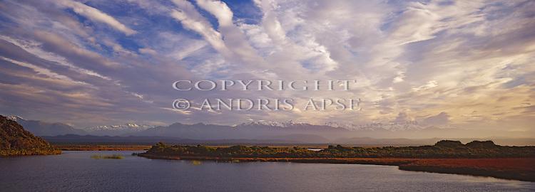 Cloud formations over the Okarito Lagoon. Westland Region. New Zealand.