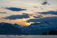 Sunset over the Chugach mountain range, northern Prince William Sound, southcentral, Alaska.
