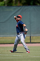 Atlanta Braves Jefry Ramos (49) throws from the outfield during a Florida Instructional League game against the Philadelphia Phillies on October 5, 2018 at the Carpenter Complex in Clearwater, Florida.  (Mike Janes/Four Seam Images)