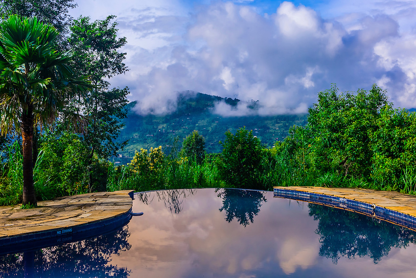 Swimming pool, Tiger Mountain Pokhara Lodge, above the Pokhara Valley, Nepal.