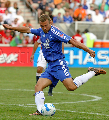 5 August 2006: Chelsea striker Andriy Shevchenko shoots during the pre-season friendly match between The Major League Soccer All-Stars and Chelsea  played at Toyota Park in Bridgeview, Illinois. Chelsea lost the game 0-1 Photo: Andy Mead/actionplus...060805 soccer football player