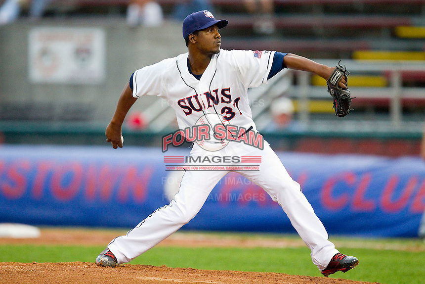 Hagerstown Suns starting pitcher Ivan Pineyro (37) in action against the Delmarva Shorebirds at Municipal Stadium on April 11, 2013 in Hagerstown, Maryland.  The Shorebirds defeated the Suns 7-4 in 10 innings.  (Brian Westerholt/Four Seam Images)