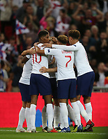 England's Marcus Rashford celebrates with his team mates after scoring his side's first goal<br /> <br /> Photographer Rob Newell/CameraSport<br /> <br /> UEFA Nations League - League A - Group 4 - England v Spain - Saturday September 8th 2018 - Wembley Stadium - London<br /> <br /> World Copyright &copy; 2018 CameraSport. All rights reserved. 43 Linden Ave. Countesthorpe. Leicester. England. LE8 5PG - Tel: +44 (0) 116 277 4147 - admin@camerasport.com - www.camerasport.com