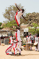 Gymnasts Perform to Welcome Visitors to Biannual Arts Festival, Goree Island, Senegal.