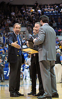 February 7, 2015 - Colorado Springs, Colorado, U.S. -  Air Force coaching staff discuss strategy in a timeout during an NCAA basketball game between the University of Wyoming Cowboys and the Air Force Academy Falcons at Clune Arena, U.S. Air Force Academy, Colorado Springs, Colorado.  Air Force soars to a 73-50 win over Wyoming.