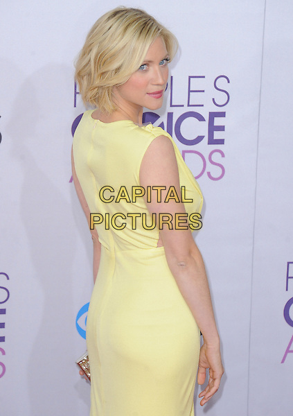 Brittany Snow.The 2013 People's Choice Awards held at Nokia Live in Los Angeles, California 9th January 2013                                                                   .half length sleeveless dress looking over shoulder yellow  .CAP/DVS.©DVS/Capital Pictures.
