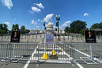 WASHINGTON, D.C. - JULY 27: Exterior view of the U.S. Capitol Building as the public viewing line is erected for Civil Rights Leader and U.S. Representative John Lewis (Democrat of Georgia) as he lies in state at the U.S. Capitol in Washington D.C. on July 27, 2020. <br /> CAP/MPI34<br /> ©MPI34/Capital Pictures