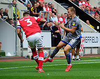 Lincoln City's Harry Anderson vies for possession with Rotherham United's Joe Mattock<br /> <br /> Photographer Chris Vaughan/CameraSport<br /> <br /> The EFL Sky Bet Championship - Rotherham United v Lincoln City - Saturday 10th August 2019 - New York Stadium - Rotherham<br /> <br /> World Copyright © 2019 CameraSport. All rights reserved. 43 Linden Ave. Countesthorpe. Leicester. England. LE8 5PG - Tel: +44 (0) 116 277 4147 - admin@camerasport.com - www.camerasport.com