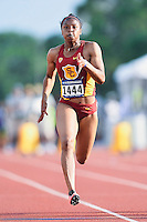 Destinee Brown of USC competes in 100 meter prelims during West Preliminary Track and Field Championships, Friday, May 29, 2015 in Austin, Tex. (Mo Khursheed/TFV Media via AP Images)