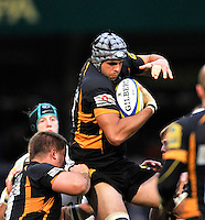 High Wycombe, England. Marco Wentzel of London Wasps wins a high ball during the Aviva Premiership match between London Wasps and Sale Sharks at Adams Park on December 23. 2012 in High Wycombe, England.