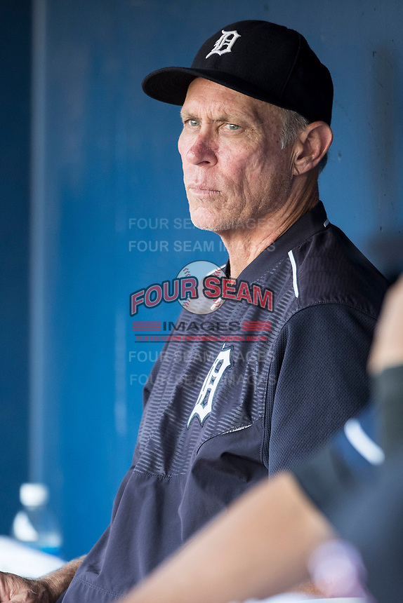 Detroit Tigers minor league instructor Alan Trammell in the dugout for the Toledo Mud Hens International League baseball game against the Louisville Bats  on May 17, 2017 at Fifth Third Field in Toledo, Ohio. Toledo defeated Louisville 16-2. (Andrew Woolley/Four Seam Images)