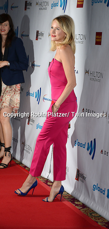 Naomi Watts attends the 25th Annual GLAAD Media Awards at the Waldorf Astoria Hotel in New York City, NY on May 3, 2014.