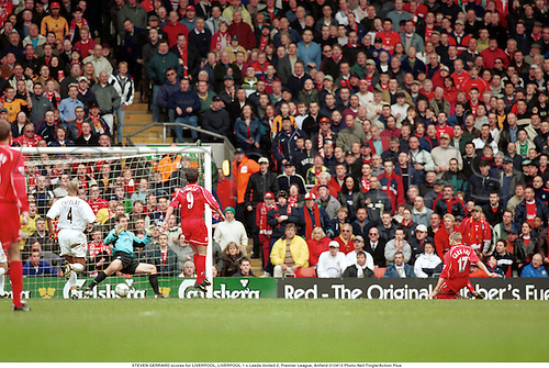 STEVEN GERRARD scores for LIVERPOOL, LIVERPOOL 1 v Leeds United 2, Premier League, Anfield 010413 Photo:Neil Tingle/Action Plus...2001.Soccer.Goals.football.association.premiership.english club clubs
