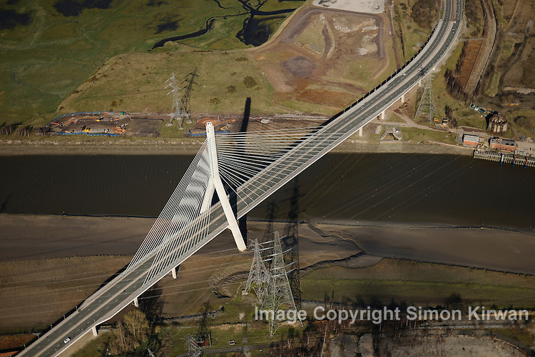 The Flintshire Bridge is a cable-stayed bridge spanning the Dee Estuary in North Wales. The bridge links Flint and Connah's Quay to the north shore of the River Dee. It is the largest asymmetric cable-stayed bridge in the UK.