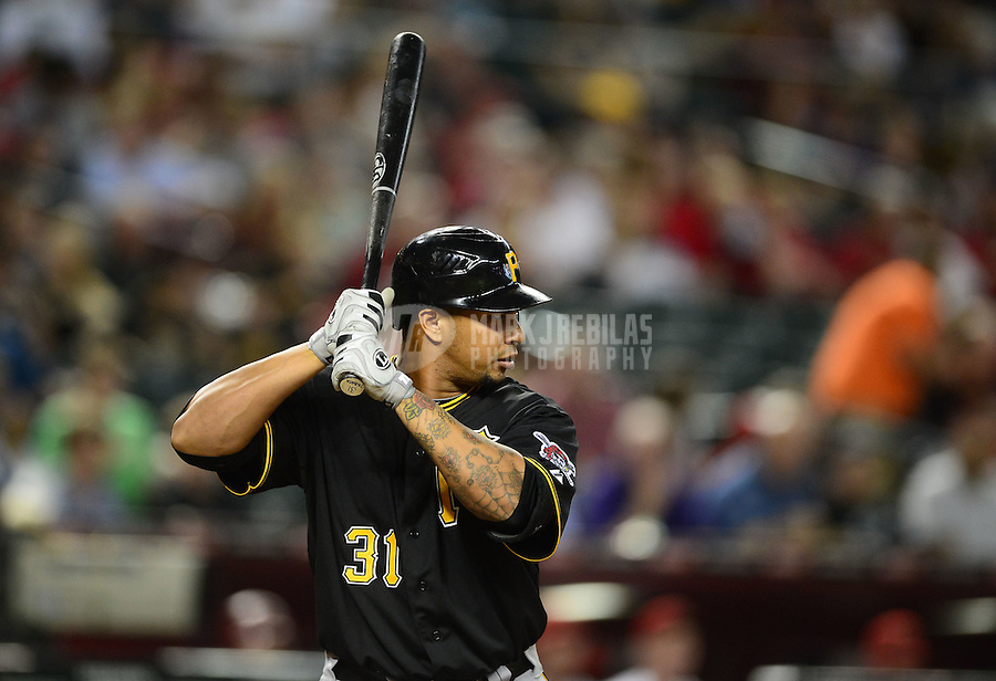 Apr. 17, 2012; Phoenix, AZ, USA; Pittsburgh Pirates outfielder Jose Tabata at bat during game against the Arizona Diamondbacks at Chase Field. Mandatory Credit: Mark J. Rebilas-
