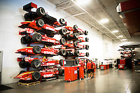 Past IndyCars, ChampCars and the DeltaWing model in storage.
