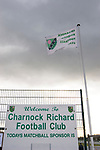 Charnock Richard 2 Freckleton 1, Mossie Park, West Lancashire Football League. The club flag flutters as Charnock Richard (green) take on visitors Freckleton in a West Lancashire Football League fixture at Mossie Park, Charnock Richard. Charnock Richard won by two goals to one. The league was formed in 1904, although 1905-06 was the first season and sits at step seven of the pyramid system. Photo by Colin McPherson.