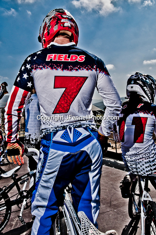 Connor Fields waiting for his turn at the starting gate, US Olympic Training Center in Chula Vista, CA