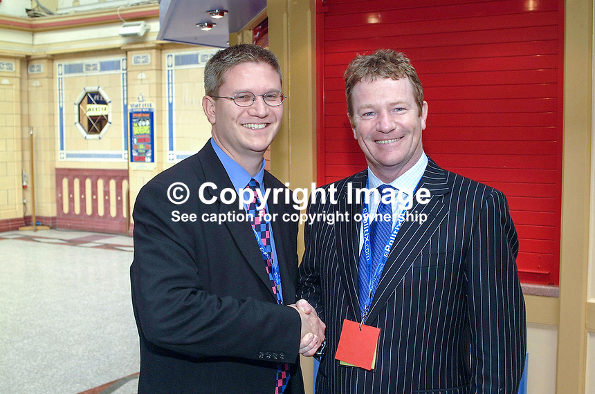 Andrew Rosindell, UK Conservative MP (left) with Jim Davidson, UK comic, comedian, television games show host. Taken at Conservative Conference in Blackpool. Ref: 200110104181...Copyright Image from Victor Patterson, 54 Dorchester Park, Belfast, UK, BT9 6RJ..Tel: +44 28 9066 1296.Mob: +44 7802 353836.Voicemail +44 20 8816 7153.Skype: victorpattersonbelfast.Email: victorpatterson@mac.com.Email: victorpatterson@ireland.com (back-up)..IMPORTANT: If you wish to use this image or any other of my images please go to www.victorpatterson.com and click on the Terms & Conditions. Then contact me by email or phone with the reference number(s) of the image(s) concerned.