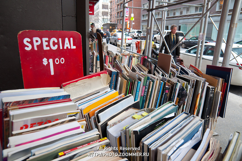 Used books sale in Strand bookstore, Manhattan, New York City