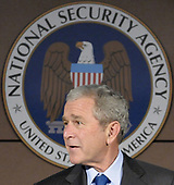 Fort Meade, MD - October 24, 2008 -- United States President George W. Bush speaks to reporters after attending a closed door intelligence briefing at the National Security Agency in Fort Meade, Maryland on Friday, October 24, 2008. <br /> Credit: Yuri Gripas / Pool via CNP
