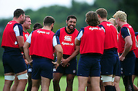Taulupe Faletau of Bath Rugby looks on. Bath Rugby pre-season training session on August 9, 2016 at Farleigh House in Bath, England. Photo by: Patrick Khachfe / Onside Images
