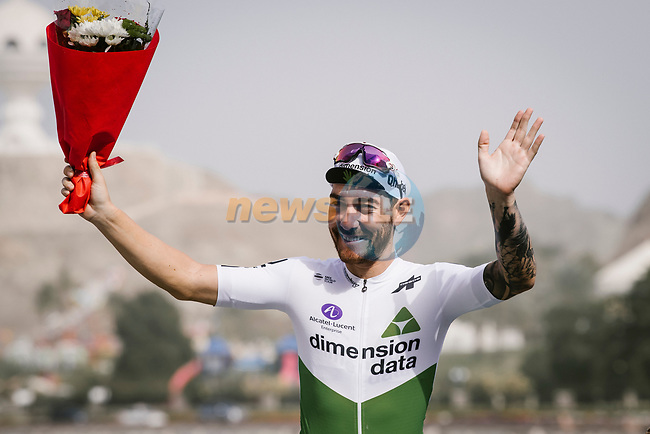 Giacomo Nizzolo (ITA) Team Dimension Data wins Stage 6 of the 10th Tour of Oman 2019, running 135.5km from Al Mouj Muscat to Matrah Corniche, Oman. 21st February 2019.<br /> Picture: ASO/P. Ballet | Cyclefile<br /> All photos usage must carry mandatory copyright credit (© Cyclefile | ASO/P. Ballet)